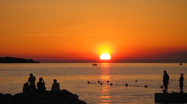 Sonnenuntergang Istrien Silhouetten Klassenfahrt Istrien